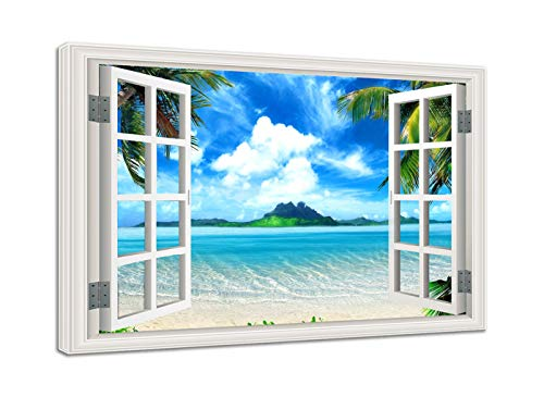 AMEMNY Window Frame Style Wall Decor Beautiful Tropical Beach with White Sand Canvas Wall Art Clear Sea and Palm Trees Under Blue Sunny Sky Picture Prints for Living Room Bedroom Framed Ready to Hang