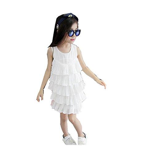 Smocked Pinafore (FTSUCQ Girls Sleeveless Chiffon Layered Pinafore Princess,White 110)