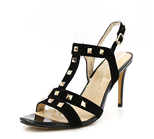 - Aodeno Suede Leather Rivet Spike Stiletto Slingback Ankle Strap Heeled Sandals (10, Black Suede)