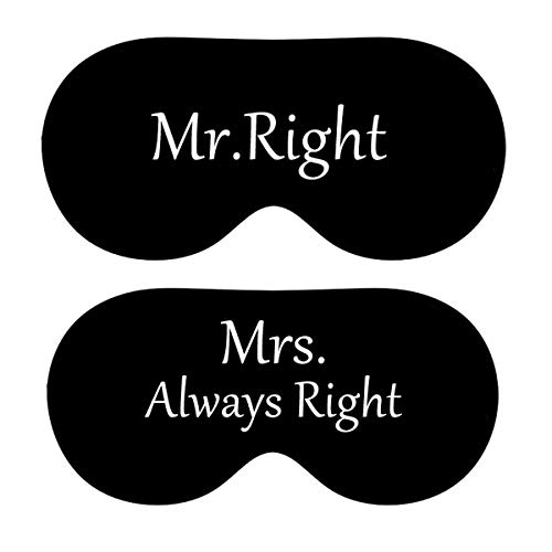 Timein Honeymoon Wedding Bridal Sleeping Masks Funny Bride & Groom Custom Gifts Mr. Mrs. Right 2pcs