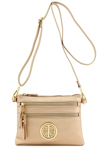 Zipper with Wristlet Rose Emblem Crossbody Bag Small Pocket Gold Multi dOqPxwtYd