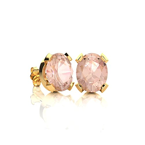 1 1/4 Carat Oval Shape Morganite Stud Earrings In Yellow Gold Over Sterling (Yellow Gold Sparkle)