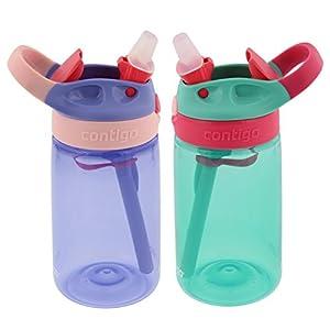 Contigo Kids Autospout Gizmo Water Bottles, 14oz (Lavender/Persian Green) - 2 Pack