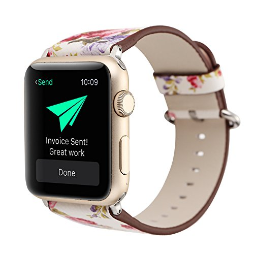 YOSWAN Bracelet for Apple Watch, National Black White Floral Printed Leather Watch Band 38mm 42mm Strap for Apple Watch Flower Design Wrist Watch Bracelet (White+ Pink Flower, 42mm)