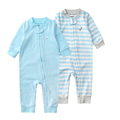 JooNeng Baby Newborn 2 Pack Cotton Romper Onesies Boy Girl Long Sleeve Two Zipper Pajamas Jumpsuits,Blue ()