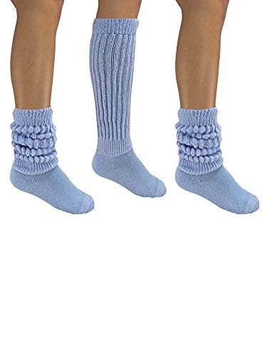 Light Blue All Cotton 3 Pack Extra Heavy Slouch Socks ()