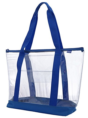 Clear ZIPPER tote with color trim and bottom, Royal trim