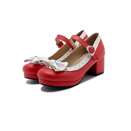 (ELFY Women's Cute Lolita Cosplay Shoes Bow Mid Chunky Heel Mary Jane Pumps red 9.5)