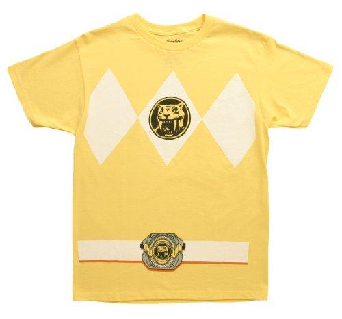 [Mighty Morphin Power Rangers Costume Men's T-shirt, Yellow] (Yellow Ranger Costumes)