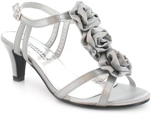 Ladies Womens Black Silver Low Heel