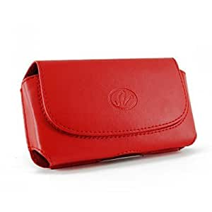 Brand New Red Color Horizontal Imitation Leather Cover Belt Clip Side Case Pouch For HTC One X+