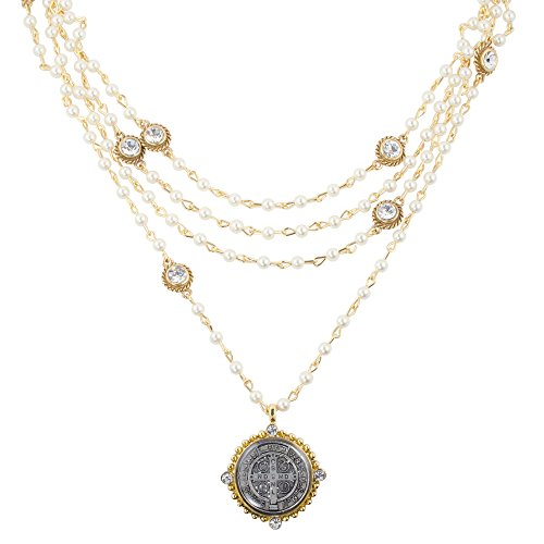 (VSA San Benito Magdalena Necklace in Gold with Pearl, Diamond Crystals)