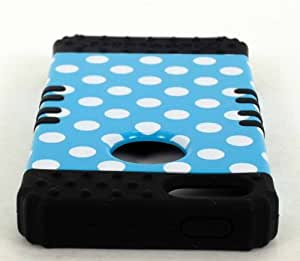 Cell-Attire Shockproof Hybrid Case For Apple IPhone 5, 5S and Stylus Pen, Black Soft Rubber Skin with Hard Cover (Polka Dots, Blue, White) AT&T, T-Mobile, Sprint, Verizon, Cricket, Virgin Mobile, Boost Mobile by Maris's Diary