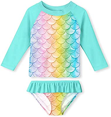 Summer Beach Tankini Bathing Suit 2-8 Years YRCUONE Girls Two Piece Swimsuit Set Long Sleeve Rashguard Swimwear with UPF 50
