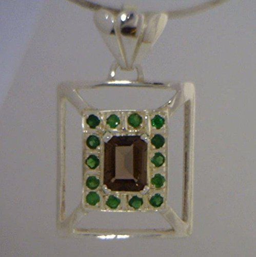 Smoky Quartz with Tsavorite Green Garnet Rectangle Halo Sterling Pendant Green Smoky Quartz Pendant