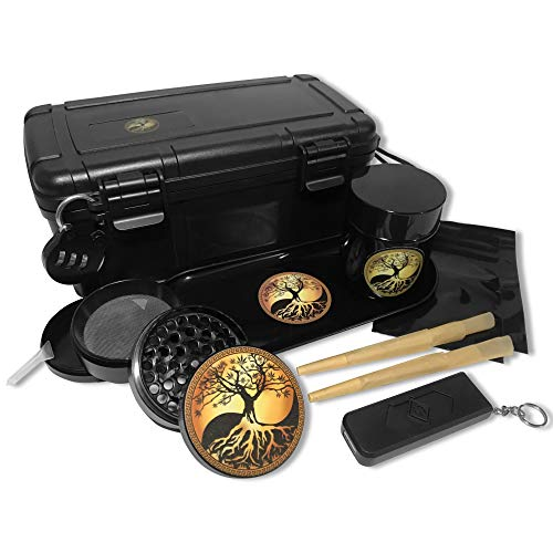 Boss Gear- All In One Stash Box Includes- Herb Grinder, Rolling Tray, UV Jar, Rolling Papers, USB Keychain Lighter, Smell Proof bags, Combination Lock, Smell Proof Container (Box Dry Herb)