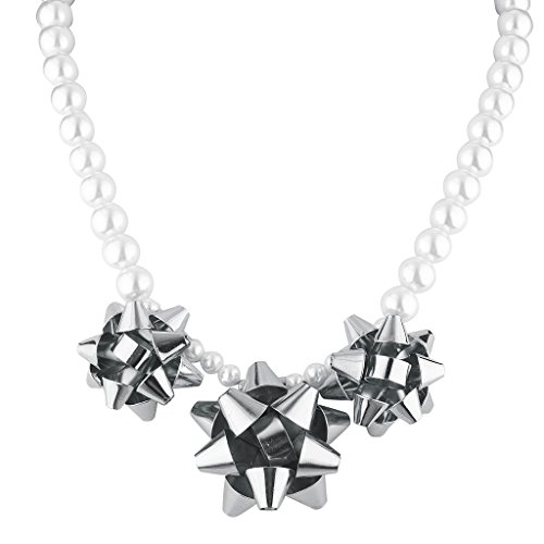 Lux Accessories Pearl and Silver Tone Bow Statement Necklace