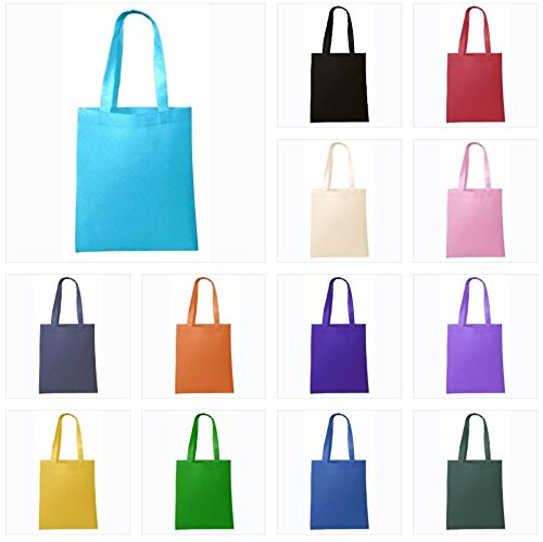Set of 50 (50 PACK) - Bright Colors Mixed Assorted Non Woven Reusable Party Favor Blank Tote Bags, Arts and Crafts Bag, Party Supplies, Wedding Gift Bags by BagzDepot