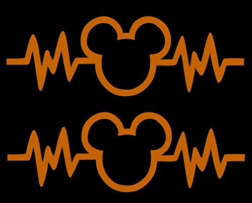 Signage Cafe Mickey Mouse Heartbeat 2PK - Car Truck Vinyl Decal Art Wall Sticker Disney Fun Adorable Cute Life (Orange, 6