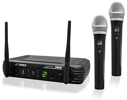 Professional Wireless Handheld Microphone System - Dual UHF Band, Wireless, Handheld, 2 MICS w/ 8 Selectable Frequency Channels, Independent Volume Controls, AF & RF Signal Indicators - Pyle PDWM3375