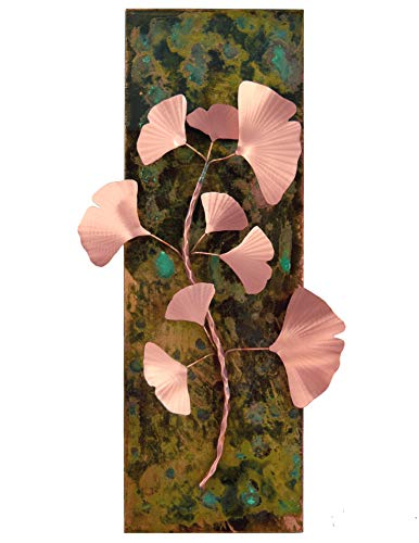 Modern Artisans American Made True Copper Ginkgo Branch Wall Art Sculpture, 18