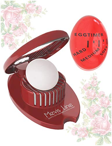 - Hard Boiled Egg Slicer with Perfect Boilled Egg Timer, Also Used For Strawberries, Boiled Potatoes Or Mozzarella Balls, Egg Dicer with Egg Timer That Changes Color When Done