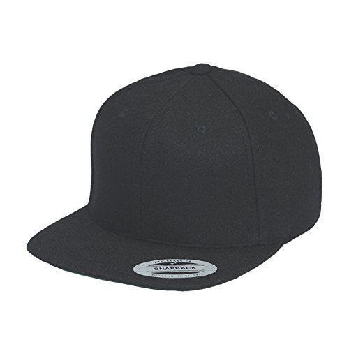 Yupoong Melton Wool Snapback Cap 6689M by Flexfit (Black) - Snapback Wool