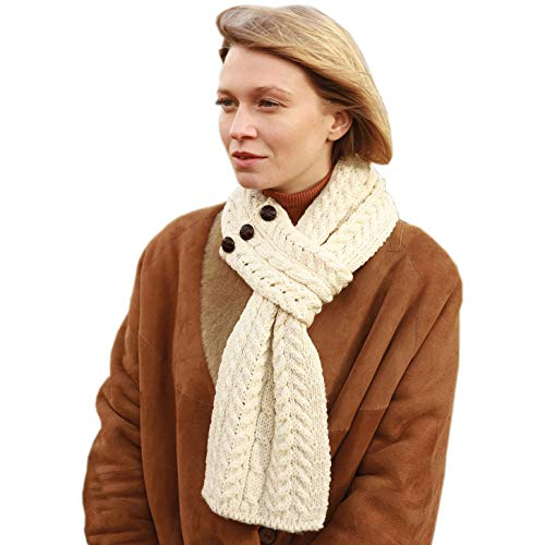 Women's Irish Wool Scarf, Super Soft, One Size Fits All, Natural