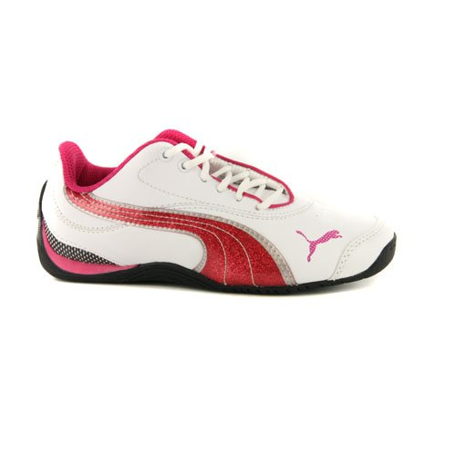 db013877600f Girls Puma Drift Cat III White Glitter Red Leather Trainers UK 1.5   EUR  34  Amazon.co.uk  Shoes   Bags