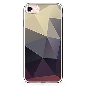 Loud Universe iPhone 8 Plus Transparent Edge Case - Geometrical Pattern Dark Tones