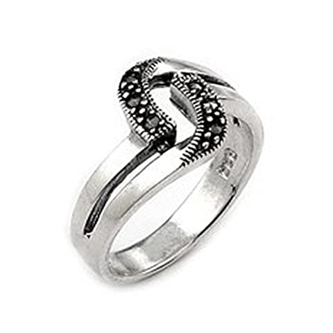 2 Row Curved Marcasite Sterling Silver Ring, Size 6 (Marcasite Rings Size 11)