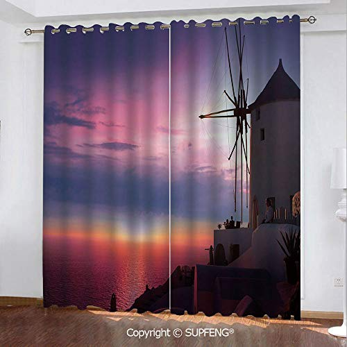 FashSam Curtain Beautiful Oia Village Santorini Island Greece Colorful Sky Idyllic Aegean Decorative (2 Panels Measures: 108W x 63Inch) Privacy Excellent Touch Environmentally Friendly