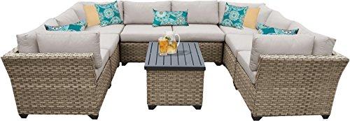 TK Classics MONTEREY-09a 9 Piece Monterey-09A Outdoor Wicker Patio Furniture Set, Beige