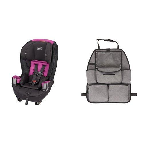 Evenflo Stratos 65 Convertible Car Seat, Pink Sunset with Deluxe Car Backseat Organizer, Grey Melange ()