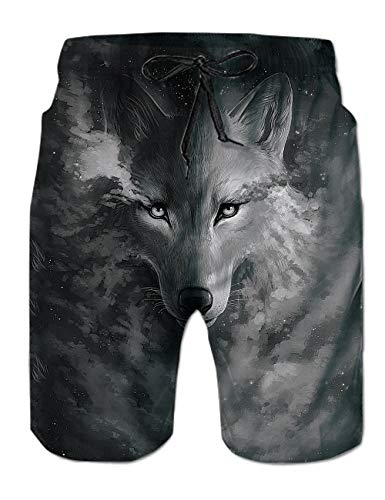 Mens Bathing Suit Shorts Wolf Print Casual Style Swimming Trunks with Mesh Lining Gray - Wolf Gray