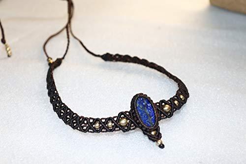 Handmade Macrame Necklace Chick. Pendant Jewelry lapis Lazuli Cord Bohemian