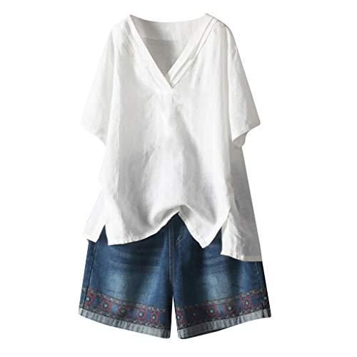 Cewtolkar Women Summer Blouse Plus Size Shirt Cotton and Linen Tops V Neck Tunic Short Sleeve Tees Casual T Shirt White ()