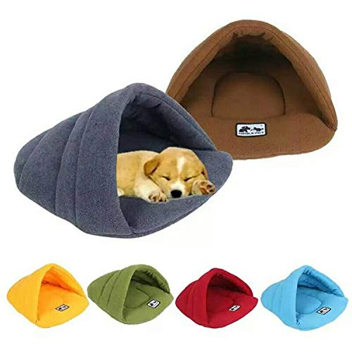 (ZZmeet 6 Colors Soft Polar Fleece Pet Mat Winter Warm Nest Pet Cat Small Dog Puppy Kennel Bed Sofa Sleeping Bag House Puppy Cave Bed,Green,L)