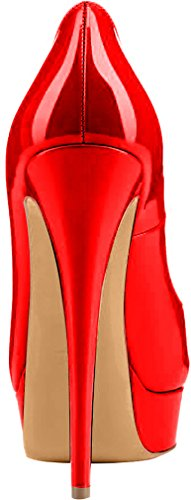 Trusify Mujer 15cm EU tamaño 34-46 Truthunder Tacón de aguja 15CM Sintético Sandalias de vestir Rojo