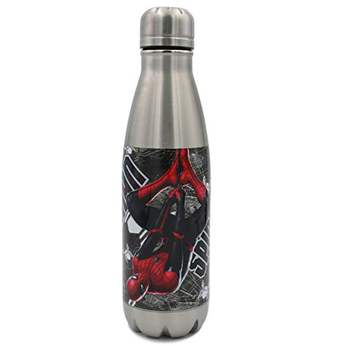 Marvel Swift Water Bottle- 17 oz. Stainless Water Bottle- Steel Double Wall Insulated and Vacuum Insulated, Cold for Up to 24 hours, BPA Free & Leak-Proof, Spider-Man Web Tech Swinger