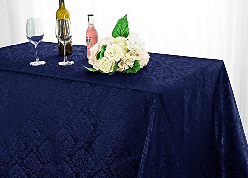 Wedding Linens Inc. 90 Inch x 132 Inch Rectangular Marquis Jacquard Damask Polyester Tablecloths Table Cover Linens for Restaurant Kitchen Dining Wedding Party Banquet Events - Navy Blue