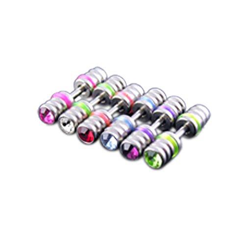 Fancy Fake Uv Ear Plug - 5 Piecs Mix Colors 316L Surgical Steel Jeweled Fancy Fake Ear Plug with UV O Rings.