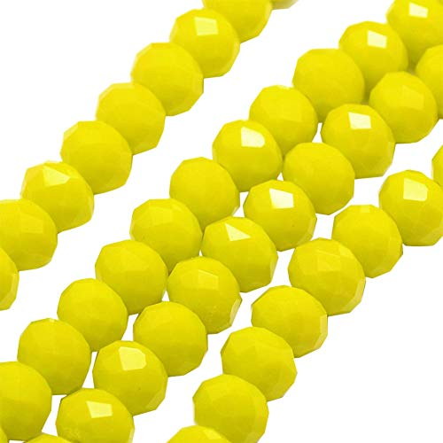 (ARRICRAFT 10 Strands Yellow Faceted Opaque Solid Crystal Glass Abacus Loose Beads 4mm for Jewelry Makings, About 139pcs/strand)