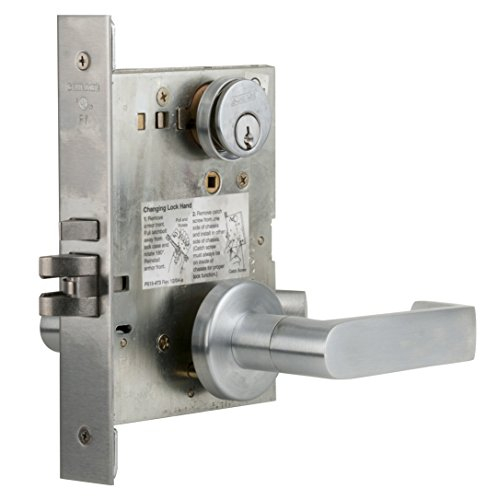 Schlage L9050P 06A 626 C123 Keyway Series L Grade 1 Mortise Lock, Office Function, C123 Keyway, 06A Design, Satin Chrome Finish