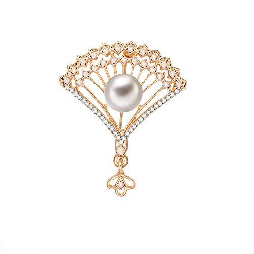 [해외](デマ?クト) De.Markt 브 로치 부채 형 가슴 장식 스카프 주 발레 소녀 지 반짝반짝 심플 로즈 인공 진주 여성용 골드 / De.Markt Brooch Fan Type Chest Rest Scarf Fastening Ballet Girl Zircon Glitter Simple Rose Artificial Pearl Ladies Gol...