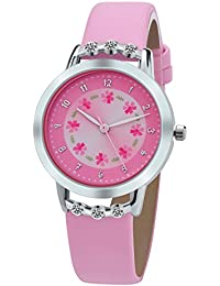 Girl Watches Easy Reader Time Teacher Flowers Diamond Pink Leather Watch for Kids