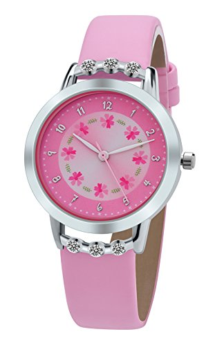 DOVODA Girl Watches Easy Reader Time Teacher Flowers Diamond Pink Leather Watch for Kids (Watch Leather Teacher Time)