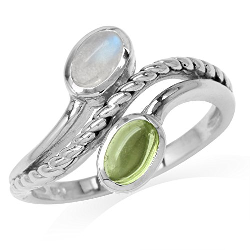 Natural Moonstone & Cabochon Peridot White Gold Plated 925 Sterling Silver Rope Bypass Ring Size 10 ()