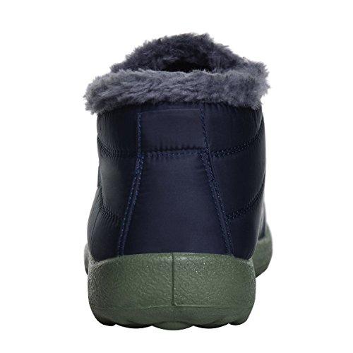 Kära Tid Kvinnor Vinter Snö Boots Päls Foder Vattentät Utomhus Slip På Tossor Gymnastik Blå Kvinnor