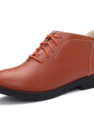 NJX/ hug Damenschuhe - Oxfords - Outddor / Lässig - Leder - Blockabsatz - Mary Jane / Rundeschuh - Schwarz / Braun / Orange black-us6.5-7 / eu37 / uk4.5-5 / cn37